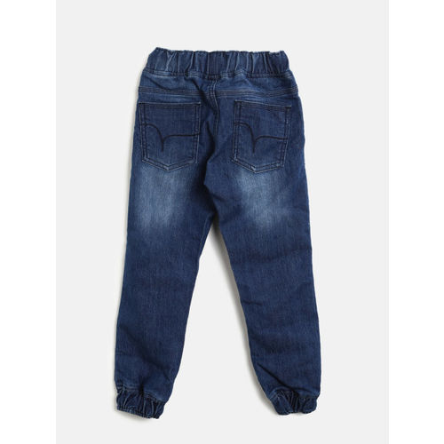 Flying Machine Boys Blue Jogger Mid-Rise Clean Look Jeans
