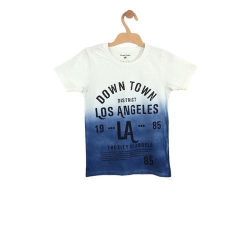 Stupid Cupid Boys Off-White & Navy Blue Dyed Round Neck T-shirt