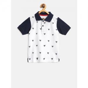 612 league Boys White & Navy Blue Printed Polo Collar T-shirt
