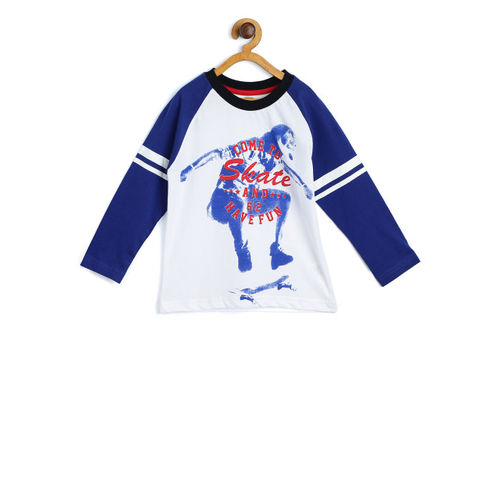 612 league Boys White & Blue Printed Round Neck T-shirt
