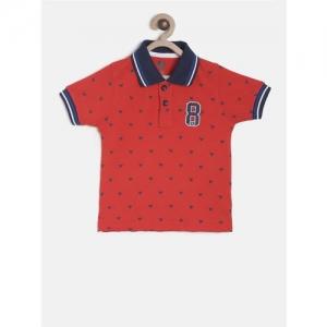 612 league Boys Red Printed Polo Collar T-shirt