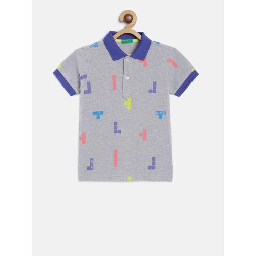 United Colors of Benetton Boys Grey Melange & Blue Printed Polo Collar T-shirt