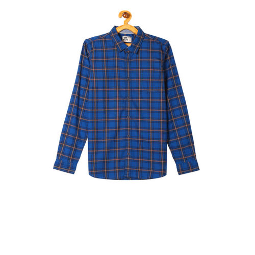Flying Machine Boys Blue Regular Fit Checked Casual Shirt