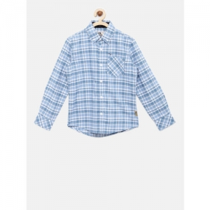 Flying Machine Boys Blue & White Regular Fit Checked Casual Shirt