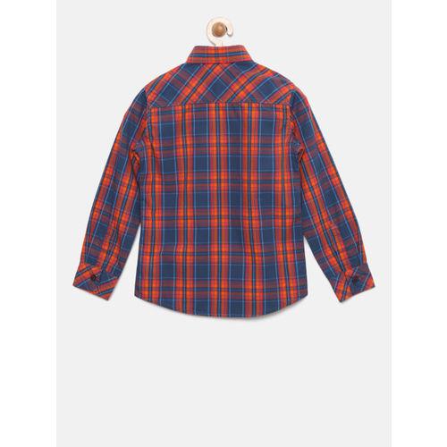Flying Machine Boys Blue & Orange Regular Fit Checked Casual Shirt