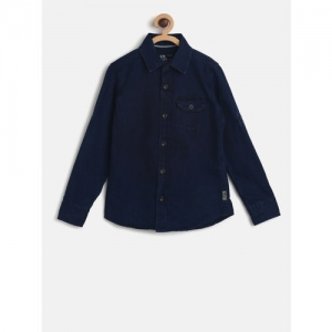 Flying Machine Boys Navy Blue Regular Fit Solid Casual Shirt