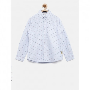 Flying Machine Boys Blue Regular Fit Printed Casual Shirt