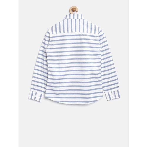 Flying Machine Boys White & Blue Regular Fit Striped Casual Shirt