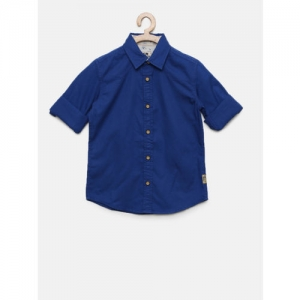 Flying Machine Boys Blue Slim Fit Solid Casual Shirt