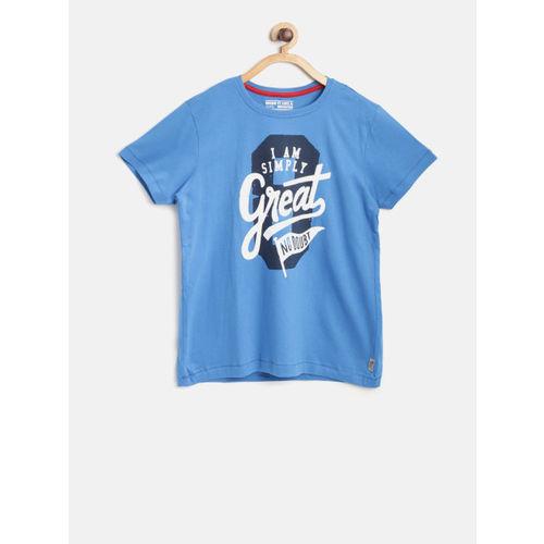 Flying Machine Boys Blue Printed Round Neck T-shirt