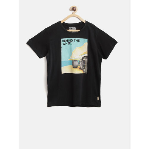 Flying Machine Boys Black Printed Round Neck T-shirt