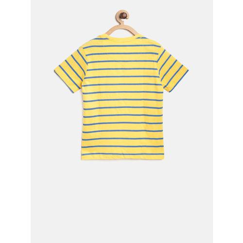 Flying Machine Boys Yellow & Blue Striped Round Neck T-shirt