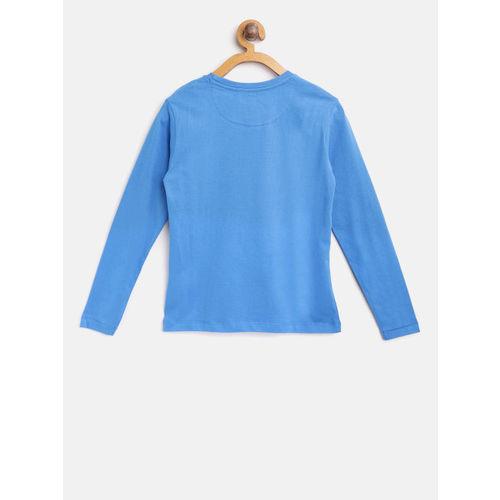 Flying Machine Boys Blue & Green Printed Round Neck T-shirt