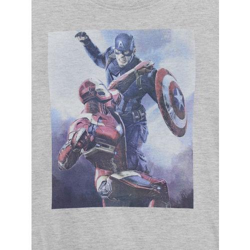 Flying Machine Boys Grey Melange Avengers Print Round Neck T-shirt