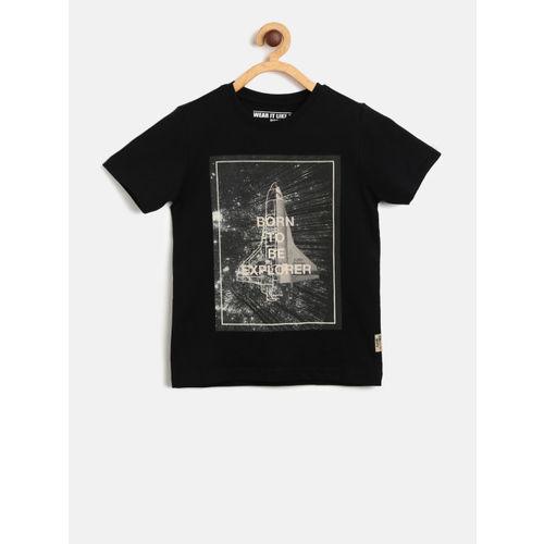 Flying Machine Boys Black Printed Round Neck T-shirt