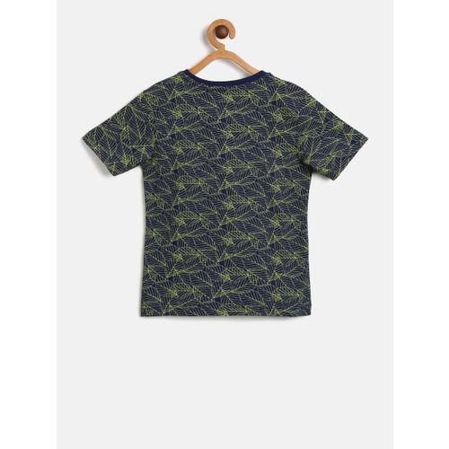 Flying Machine Boys Navy & Yellow Printed T-shirt