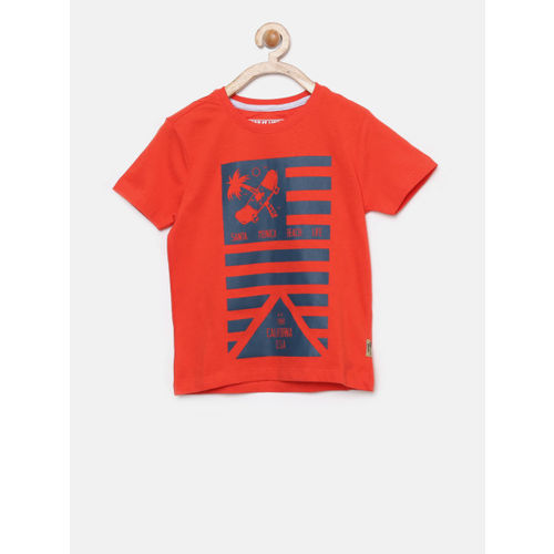 Flying Machine Boys Red Printed Round Neck T-shirt