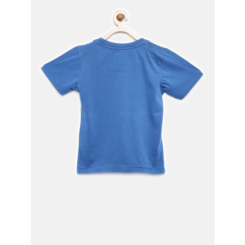Flying Machine Boys Blue Printed Round Neck T-shirt