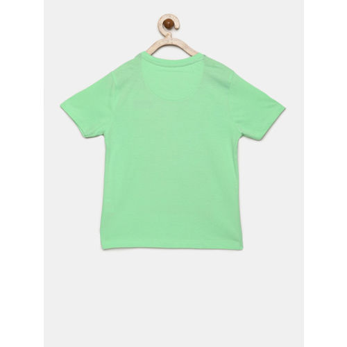 Flying Machine Boys Green Graphic Round Neck T-shirt
