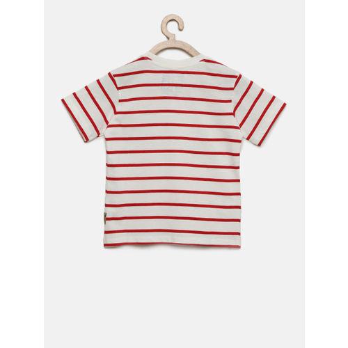 Flying Machine Boys White Striped Round Neck T-shirt