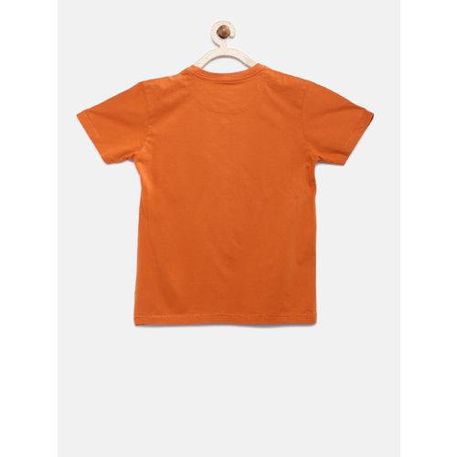 Flying Machine Boys Orange & Blue Printed Round Neck T-shirt