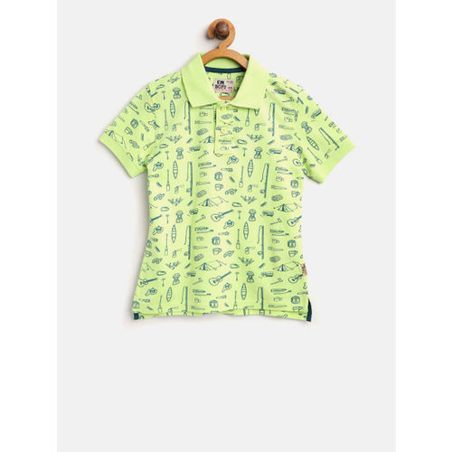 Flying Machine Boys Fluorescent Green & Navy Printed Polo Collar T-shirt