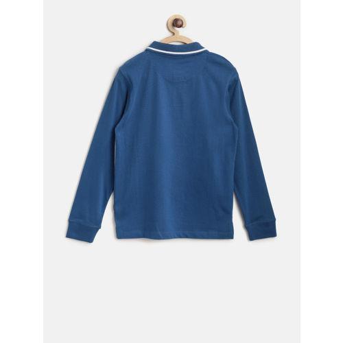 Flying Machine Boys Teal Blue & White Printed Polo Collar T-shirt
