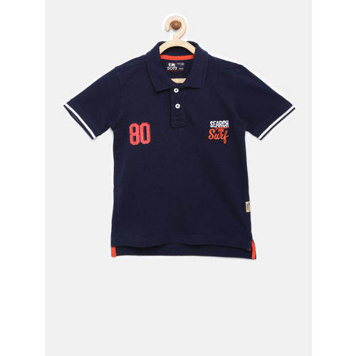 Flying Machine Boys Navy Blue Solid Polo T-shirt