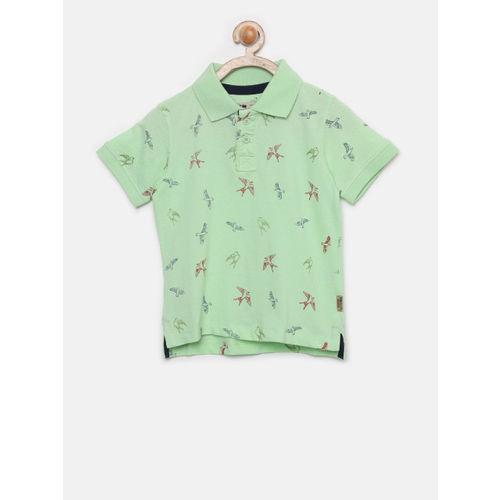 Flying Machine Boys Green Printed Polo Collar T-shirt