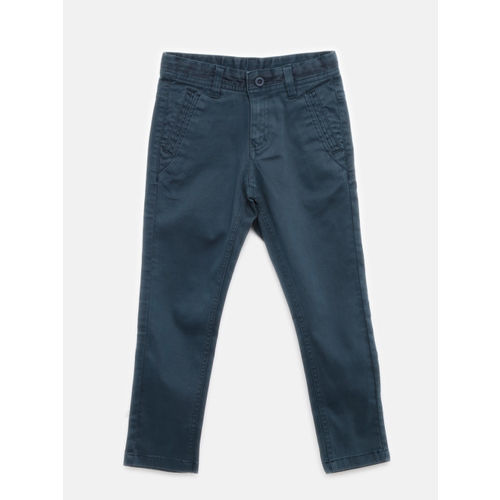 Flying Machine Boys Navy Slim Fit Solid Regular Trousers