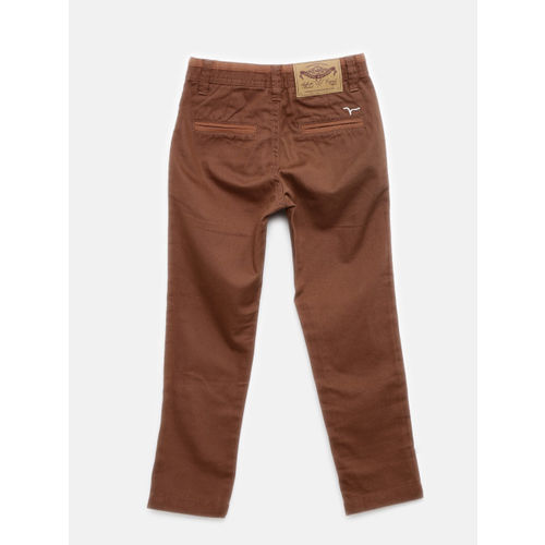 Flying Machine Boys Brown Slim Fit Solid Regular Trousers