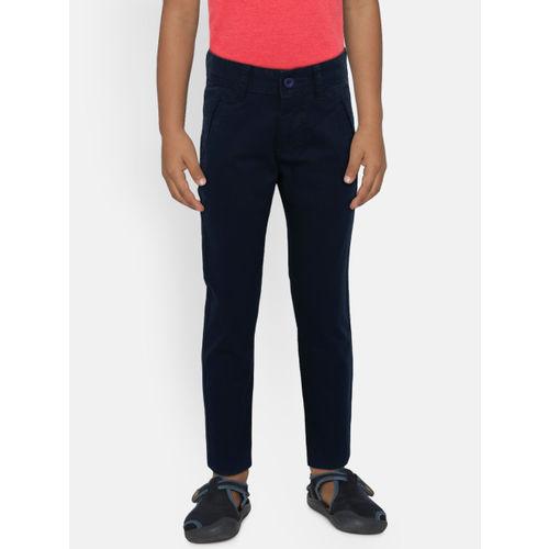 Flying Machine Boys Navy Blue Slim Fit Solid Regular Trousers