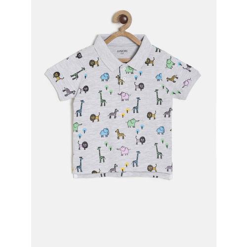 Juniors by Lifestyle Boys Grey Melange Printed Polo Collar T-shirt