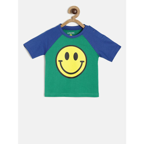 Juniors by Lifestyle Boys Green Printed Round Neck T-shirt