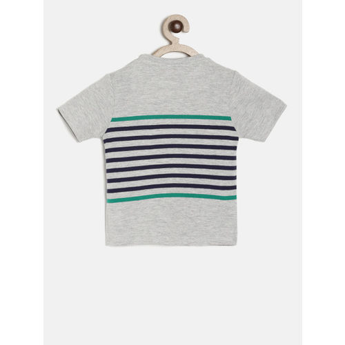 Juniors by Lifestyle Boys Grey Melange Striped T-shirt