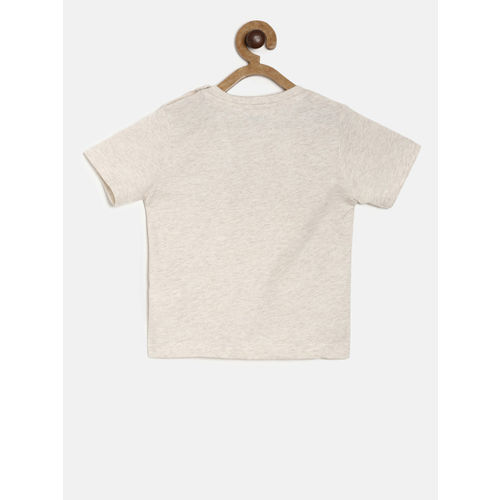 Juniors by Lifestyle Boys Grey Melange Printed Round Neck T-shirt