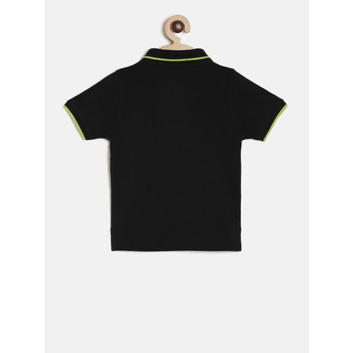 Juniors by Lifestyle Boys Black Solid Polo Collar T-shirt