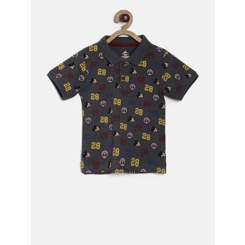 Juniors by Lifestyle Boys Grey Printed Polo Collar T-shirt