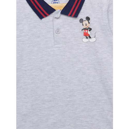 Juniors by Lifestyle Boys Grey Melange Solid Polo Collar T-shirt