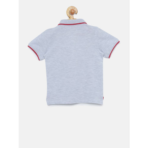 Juniors by Lifestyle Boys Grey Melange Solid Polo T-shirt