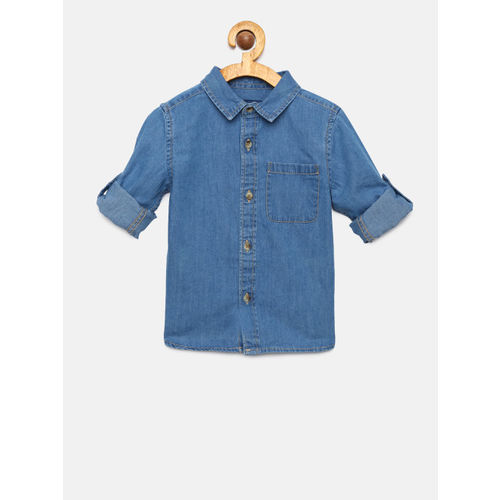 Juniors by Lifestyle Boys Blue Nancy Regular Fit Solid Casual Shirt