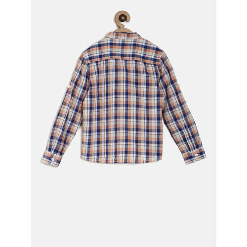 Juniors by Lifestyle Boys Blue & Orange Regular Fit Checked Casual Shirt