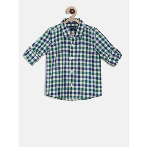 Juniors by Lifestyle Boys White & Blue Regular Fit Checked Casual Shirt