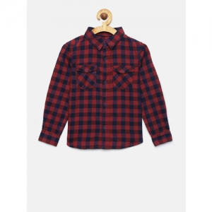 Juniors by Lifestyle Boys Red & Blue Regular Fit Checked Casual Shirt