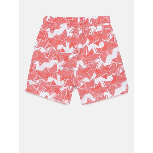 Juniors by Lifestyle Boys Pink & White Printed Regular Fit Shorts
