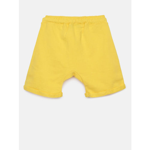 Juniors by Lifestyle Boys Yellow Solid Regular Fit Shorts