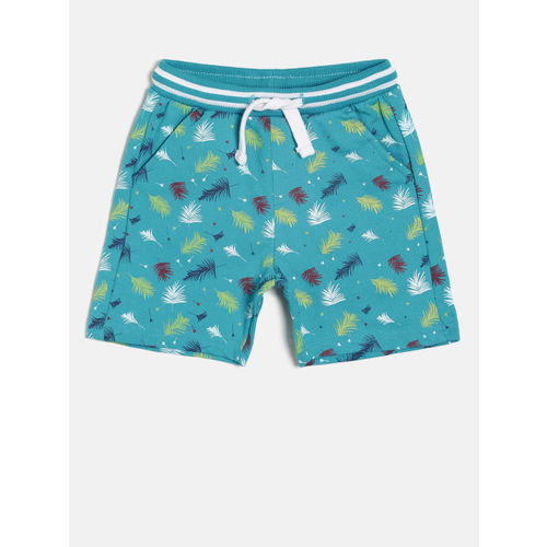 Juniors by Lifestyle Boys Teal Blue Printed Regular Fit Shorts