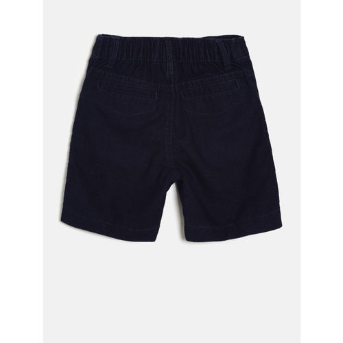 Juniors by Lifestyle Boys Navy Blue Solid Regular Fit Shorts