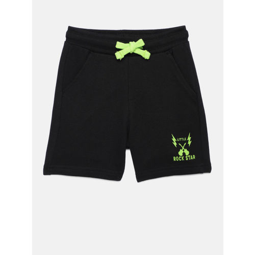 Juniors by Lifestyle Boys Black Solid Regular Shorts