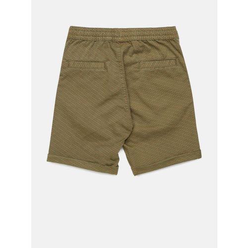Juniors by Lifestyle Boys Olive Green Printed Regular Shorts